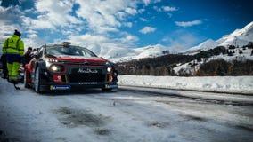 2018 śnieg Zlotny Monte, Carlo - Francja Montecarlo Citroà 'n WRC zdjęcia stock