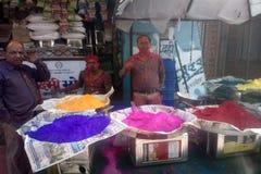 niejadowici barwidła przed świętym Holi wakacje w India obraz stock