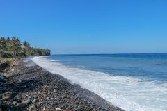 Niekończący się dziewicza otoczak plaża z drzewkami palmowymi i tropikalną roślinnością na Bali wyspie w Indonezja Fale myją kami fotografia royalty free