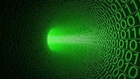 Niekończący się lot przez abstrakt zieleni tunelu robić z zero i ones Technika ruchu tło IT, binarny dane ilustracja wektor