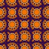 Niekończący się mandala w pomarańczowym kolorze Plemienny rocznik royalty ilustracja