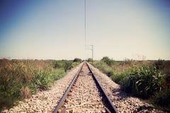 Niekończący się punkt na starym kolejowym śladzie Obraz Stock
