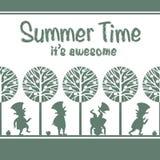 Niekończący się wzór z leprechauns w lato ogródzie Obraz Royalty Free