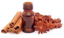 Niektóre aromatyczny cynamon z gwiazdowym anyżem i istotnym olejem obrazy stock