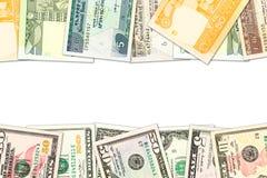 Niektóre ethiopian birr banknoty i dolarów amerykańskich banknoty z copyspace wskazującymi stosunkami handlowymi zdjęcie royalty free
