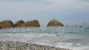 Niektóre fala na zimy plaży zbiory