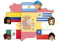 Niektóre Hiszpańscy głośnikowi kraje ilustracja wektor