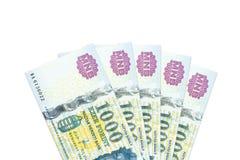 Niektóre hungarian forintów banknoty zdjęcia royalty free
