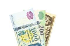 Niektóre hungarian forintów banknoty obrazy stock