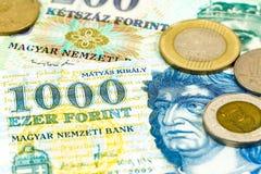 Niektóre hungarian forint monety i banknoty fotografia royalty free