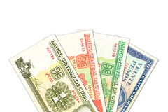 Niektóre kubańskiego peso banknoty z copyspace obraz royalty free