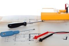 Niektóre narzędzia i plan Zdjęcia Stock