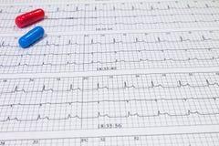 Niektóre pigułki na elektrokardiogramach Rejestry sercowa aktywność Koncensjonowani leki w formach pastylki Pojęcie sercowonaczyn zdjęcie stock
