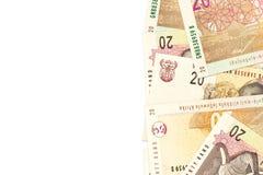 Niektóre 20 południe - afrykańscy skrajów banknoty z copyspace fotografia stock