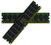 Niektóre modułów DDR RAM pamięci komputer na białym tle Obrazy Stock