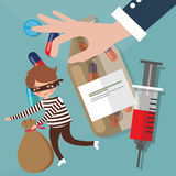 Nielegalni narkotyki kupczy narkotyki przemyca przestępstwo polici próbę łapać ilustracja wektor