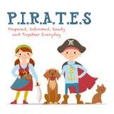Nielegalnie kopiować literowanie, plakat z chłopiec i dziewczyny ubierającej jak piraci, royalty ilustracja
