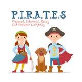 Nielegalnie kopiować literowanie, plakatowy projekt z dzieciakami ubierającymi jak piraci Fotografia Stock