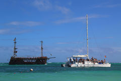 Nielegalnie kopiować partyjną łódź i bawi się jacht w Punta Cana, republika dominikańska Obraz Royalty Free