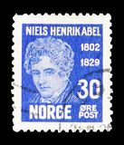 Niels Henrik Abel, serie, circa 1929. MOSCOW, RUSSIA - FEBRUARY 23, 2019: A stamp printed in Norway shows Niels Henrik Abel, serie, circa 1929 royalty free stock images