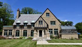 Nieman Mansion. This is a Summer picture of he Edwin J. Nieman Mansion located in Mequon, Wisconsin in Ozaukee County. This Mansion was designed by Herman Bruns Royalty Free Stock Images