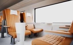 Niemand bequemer moderner orange Farbledersessel innerhalb des Business-Class-Kabinen-schnelle Geschwindigkeits-Zugs Weißes Fenst Lizenzfreie Stockfotografie