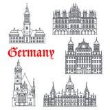 Niemcy architektury budynków wektoru sławne ikony Obrazy Royalty Free