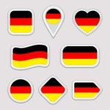 Niemcy flaga wektoru set Niemiec zaznacza majcherów inkasowych Odosobnione geometryczne ikony Krajowych symboli/lów odznaki Sieć, ilustracja wektor