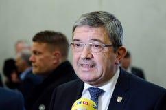 NIEMCY, LEIPZIG - DEZEMBER 07, 2017: Lorenz Caffier, minister opowiada wnętrze CDU w Mecklenburg-Vorpommern Obrazy Royalty Free