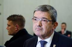 NIEMCY, LEIPZIG - DEZEMBER 07, 2017: Lorenz Caffier, minister opowiada wnętrze CDU w Mecklenburg-Vorpommern Zdjęcie Stock