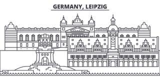 Niemcy, Leipzig linii linii horyzontu wektoru ilustracja Niemcy, Leipzig liniowy pejzaż miejski z sławnymi punktami zwrotnymi, mi ilustracji
