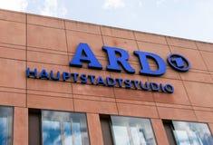 NIEMCY - 22 2016 LIPIEC: logo Niemiecka telewizyjna stacja ARD Zdjęcie Royalty Free