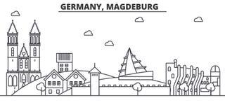 Niemcy, Magdeburska architektury linii linii horyzontu ilustracja Liniowy wektorowy pejzaż miejski z sławnymi punktami zwrotnymi, royalty ilustracja
