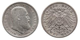 Niemcy niemiec Wuerttemberg srebna moneta 2 dwa zaznacza 1896 zdjęcie royalty free