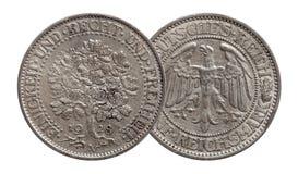 Niemcy Niemiecka srebna moneta 5 pi?? zaznacza d?bowego drzewa Weimar republiki zdjęcia royalty free
