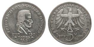 Niemcy 5 ocen srebna moneta Schiller 1955 obrazy royalty free