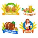 Niemcy piwny festiwal oktoberfest, bavarian piwo w szklanym kubku, tradycyjny partyjny świętowanie, wektorowa ilustracja Fotografia Stock