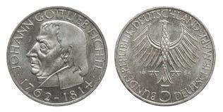 Niemcy poborcy moneta 5 1964 oceny Fichte srebro zdjęcia royalty free