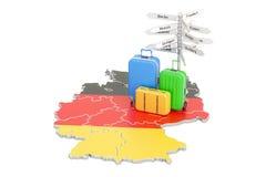 Niemcy podróży pojęcie Niemiec flaga na mapie z walizkami i si ilustracji