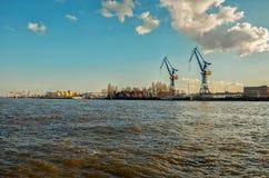 Niemcy Port Hamburg na rzecznym Elbe Luty 13, 2018 obrazy stock
