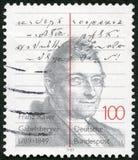 NIEMCY - 1989: przedstawienia Franz Xaver Gabelsberger 1789-1849, nowator niemiec stenografia zdjęcie royalty free