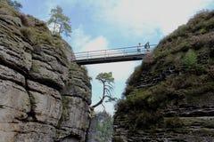 Niemcy, Saxony: Ludzie chodzą wzdłuż mosta między górami zdjęcie royalty free