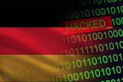 Niemcy siekał tajemnicę państwową Cyberattack na pieniężnej i bankowości strukturze Tajna informacja Na flaga binarny kod Zdjęcie Royalty Free
