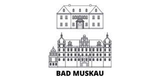 Niemcy, Zły Muskau linii podróży linia horyzontu set Niemcy, Zły Muskau konturu miasto wektorowa ilustracja, symbol, podróż widok ilustracja wektor
