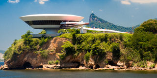 Niemeyer Museum of Contemporary Arts. Art museum on a cliff, Niemeyer Museum of Contemporary Arts, Niteroi, Rio De Janeiro, Brazil Stock Photos