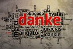 Niemiec Danke, Otwarta słowo chmura, dzięki, Grunge tło Fotografia Stock