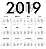 Niemiec Deutsch kalendarza siatka dla 2019 MF Ilustracji