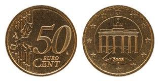 Niemiec 50 euro centu Niemcy moneta, frontowa strona 50 i brama, Europe, zadka Brandenburg obrazy royalty free
