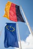 Niemiec flaga i europejczyk flaga Obrazy Royalty Free