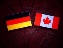 Niemiec flaga z kanadyjczyk flaga na drzewnym fiszorku odizolowywającym zdjęcia royalty free